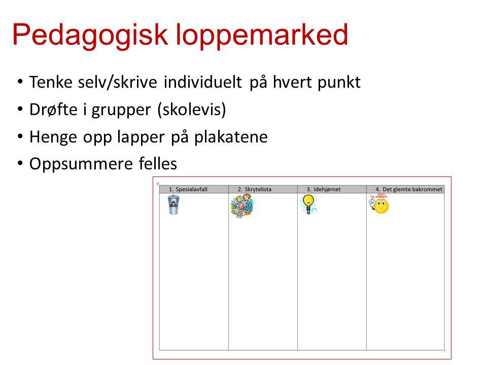 Pedagogisk loppemarked Tenke selv/skrive individuelt på hvert punkt Drøfte i grupper (skolevis) Henge opp lapper på plakatene Oppsummere felles