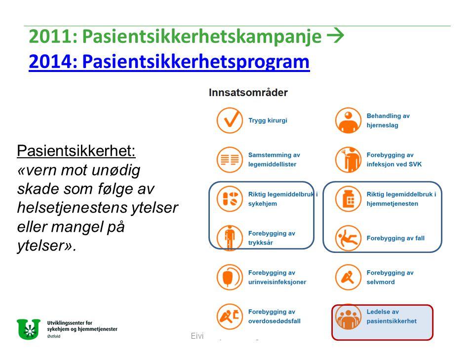 2011: Pasientsikkerhetskampanje  2014: Pasientsikkerhetsprogram 2014: Pasientsikkerhetsprogram Eivind Bjørnstad og Elisabeth Østensvik Pasientsikkerh