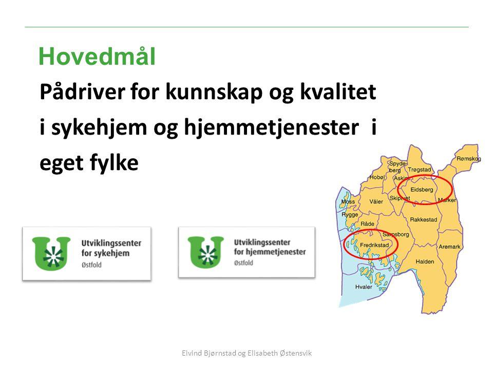 Pådriver for kunnskap og kvalitet i sykehjem og hjemmetjenester i eget fylke Hovedmål OMSORGSENTER NORD Eivind Bjørnstad og Elisabeth Østensvik