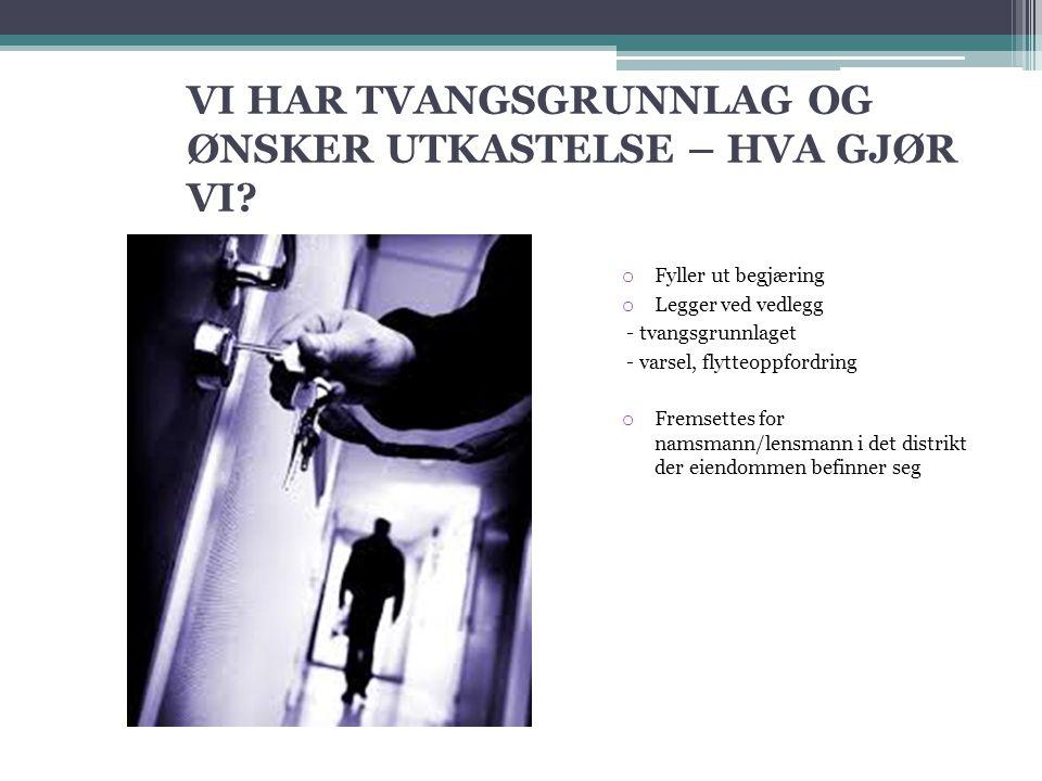 VI HAR TVANGSGRUNNLAG OG ØNSKER UTKASTELSE – HVA GJØR VI.