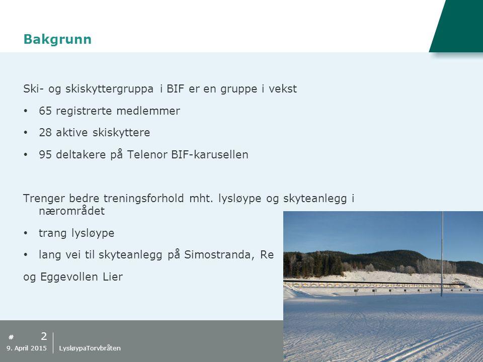 # Bakgrunn 2 9. April 2015 LysløypaTorvbråten Ski- og skiskyttergruppa i BIF er en gruppe i vekst  65 registrerte medlemmer  28 aktive skiskyttere 