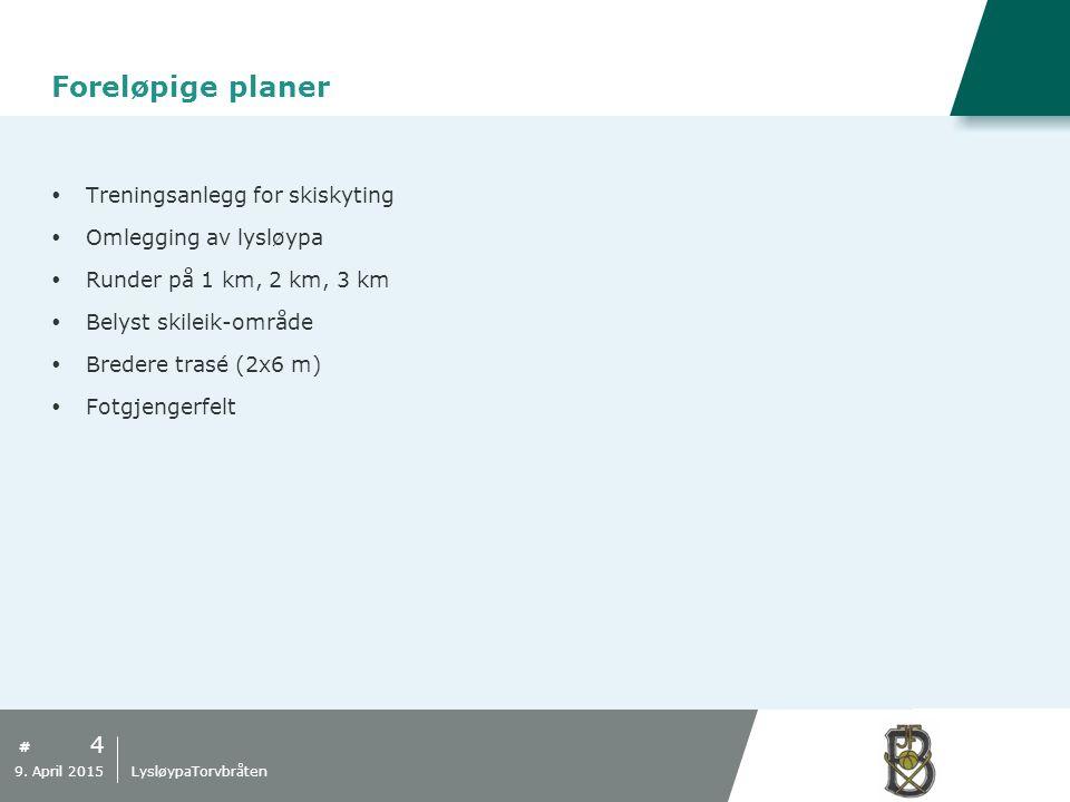 # Foreløpige planer  Treningsanlegg for skiskyting  Omlegging av lysløypa  Runder på 1 km, 2 km, 3 km  Belyst skileik-område  Bredere trasé (2x6