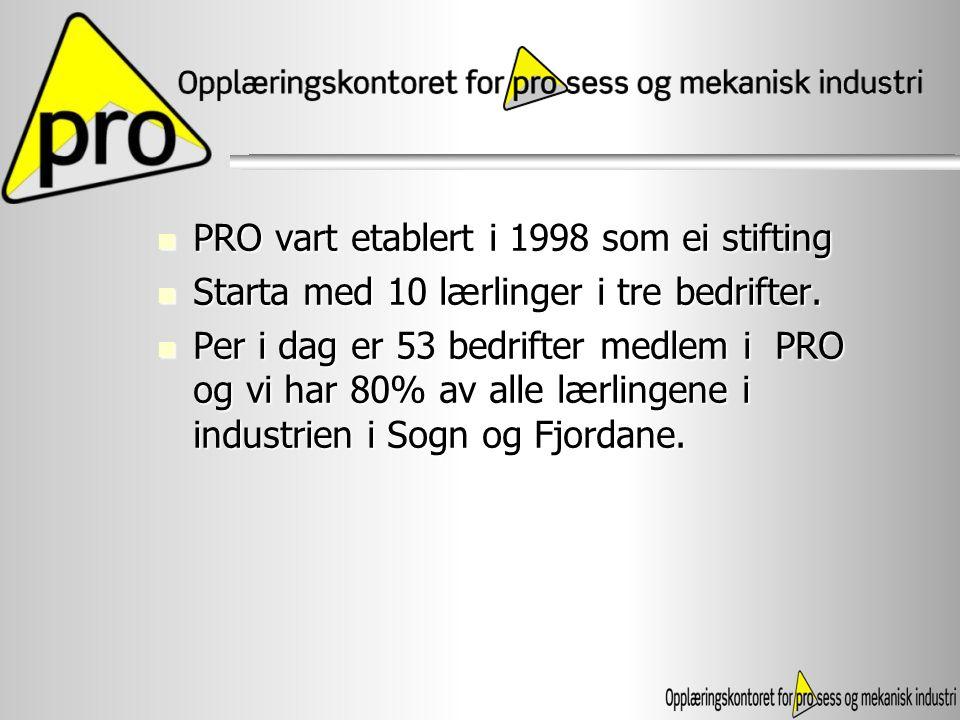 PRO vart etablert i 1998 som ei stifting PRO vart etablert i 1998 som ei stifting Starta med 10 lærlinger i tre bedrifter. Starta med 10 lærlinger i t