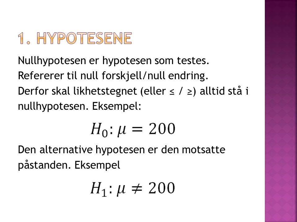  1-hale-test ved bruk av ≥ eller ≤  2-hale-test ved bruk av = (Ikke glem å dele alfaverdien (signifikansnivået) på 2 når du bruker 2-hale- tester!!!!)