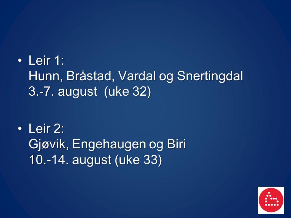Leir 1: Hunn, Bråstad, Vardal og Snertingdal 3.-7. august (uke 32) Leir 1: Hunn, Bråstad, Vardal og Snertingdal 3.-7. august (uke 32) Leir 2: Gjøvik,