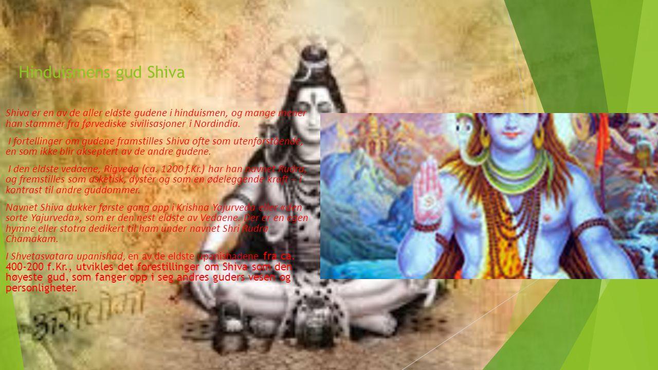 Hinduismens gud Shiva Shiva er en av de aller eldste gudene i hinduismen, og mange mener han stammer fra førvediske sivilisasjoner i Nordindia. I fort