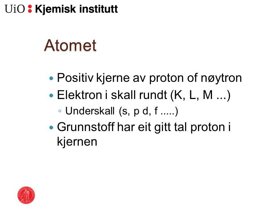 Atomet Positiv kjerne av proton of nøytron Elektron i skall rundt (K, L, M...) ◦ Underskall (s, p d, f.....) Grunnstoff har eit gitt tal proton i kjer