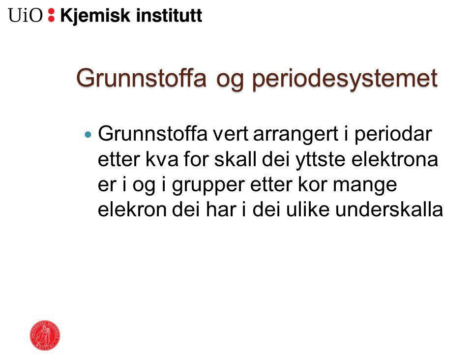 Grunnstoffa og periodesystemet Grunnstoffa vert arrangert i periodar etter kva for skall dei yttste elektrona er i og i grupper etter kor mange elekro