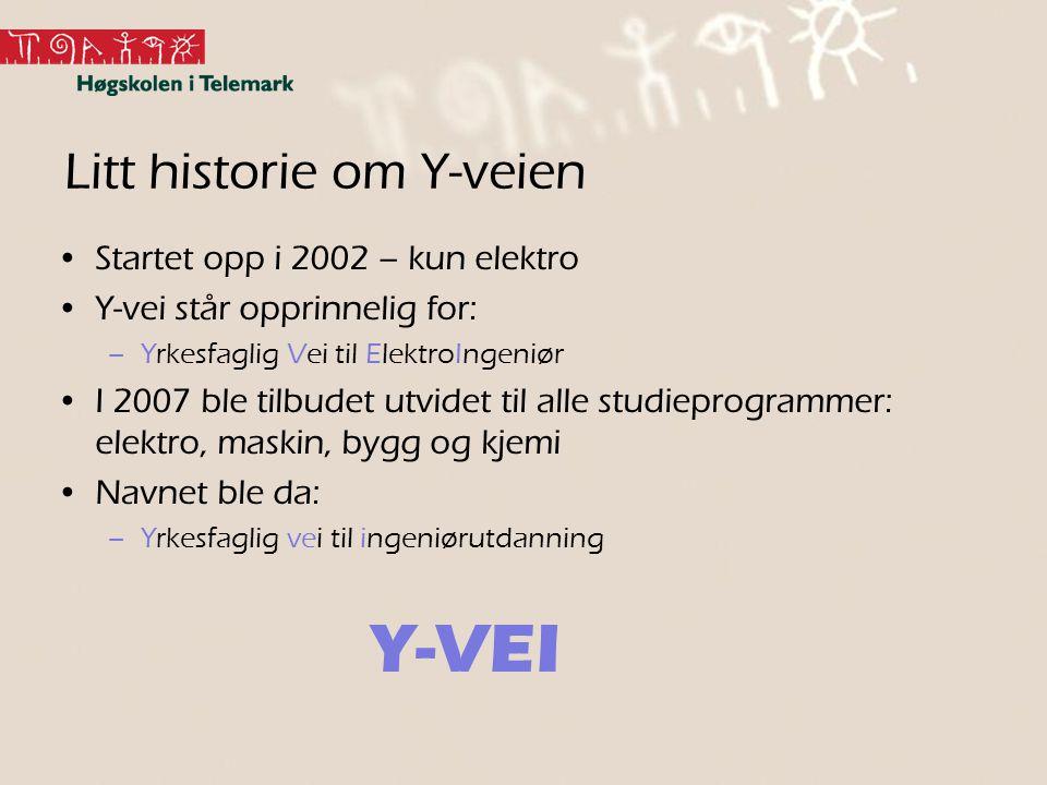 Litt historie om Y-veien Startet opp i 2002 – kun elektro Y-vei står opprinnelig for: –Yrkesfaglig Vei til ElektroIngeniør I 2007 ble tilbudet utvidet