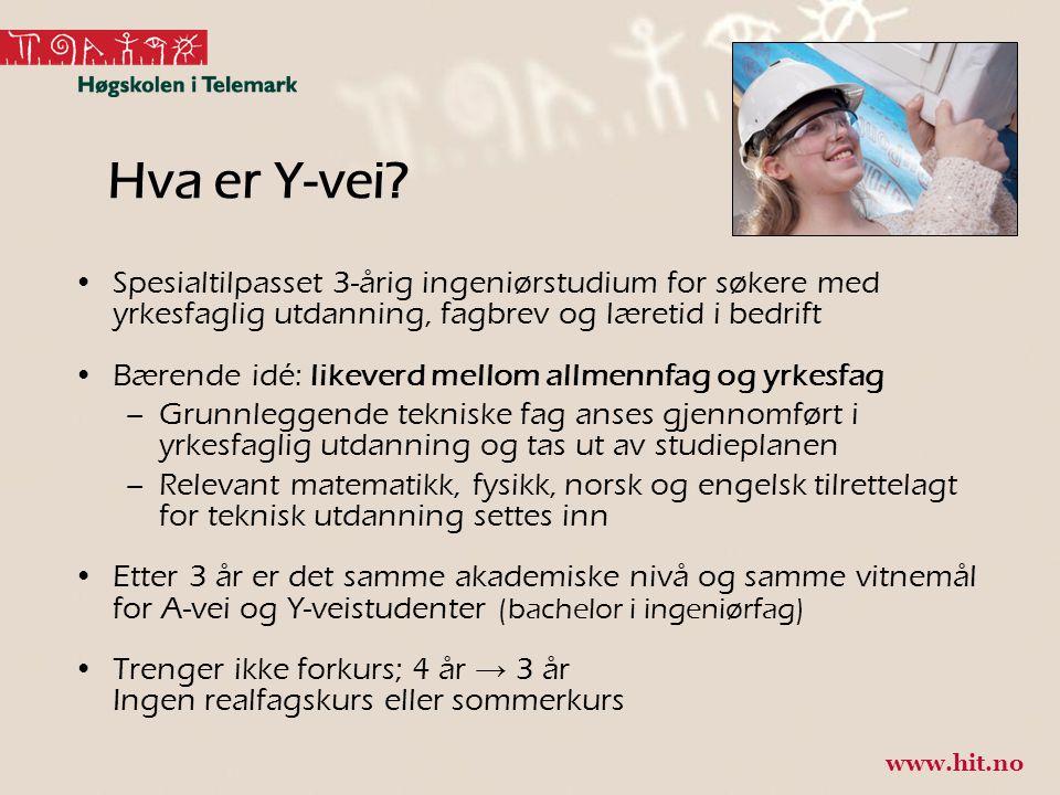 Flere tilbydere av Y-veien Bachelor i ingeniørfag, Y-vei: -Høgskolen i Østfold -Universitetet i Agder -Høgskolen i Ålesund -Høgskolen i Narvik -Høgskolen i Gjøvik -Høgskulen i Sogn og Fjordane -Høgskolen i Buskerud og Vestfold -Universitetet i Stavanger -Høgskolen Stord/Haugesund -Høgskolen i Telemark -Universitetet i Tromsø 5