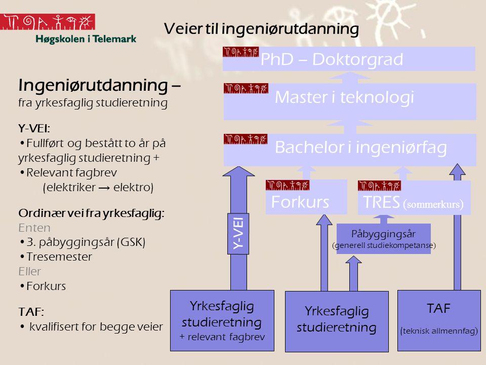 Y-VEI Påbyggingsår ( generell studiekompetanse ) Veier til ingeniørutdanning PhD – Doktorgrad Master i teknologi Bachelor i ingeniørfag Forkurs TRES (
