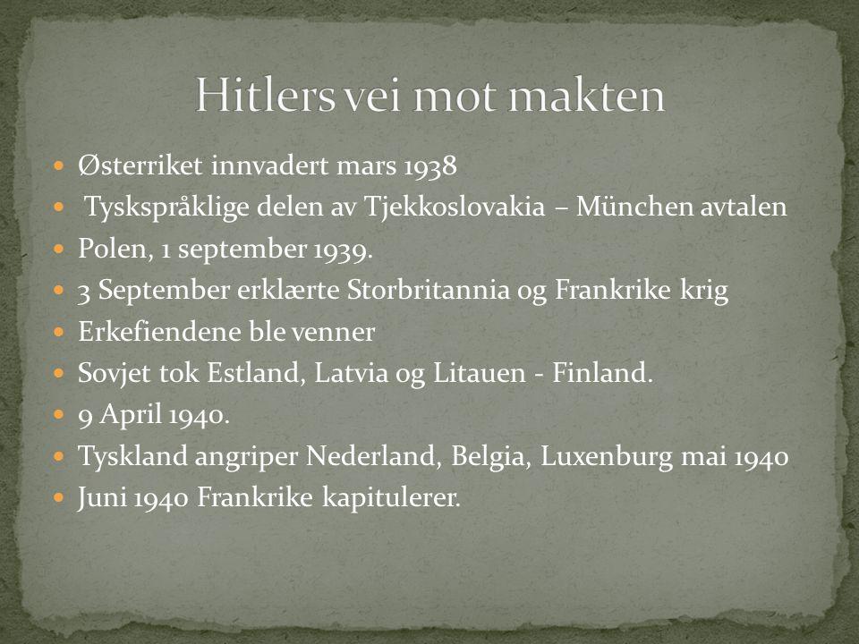 Østerriket innvadert mars 1938 Tyskspråklige delen av Tjekkoslovakia – München avtalen Polen, 1 september 1939. 3 September erklærte Storbritannia og