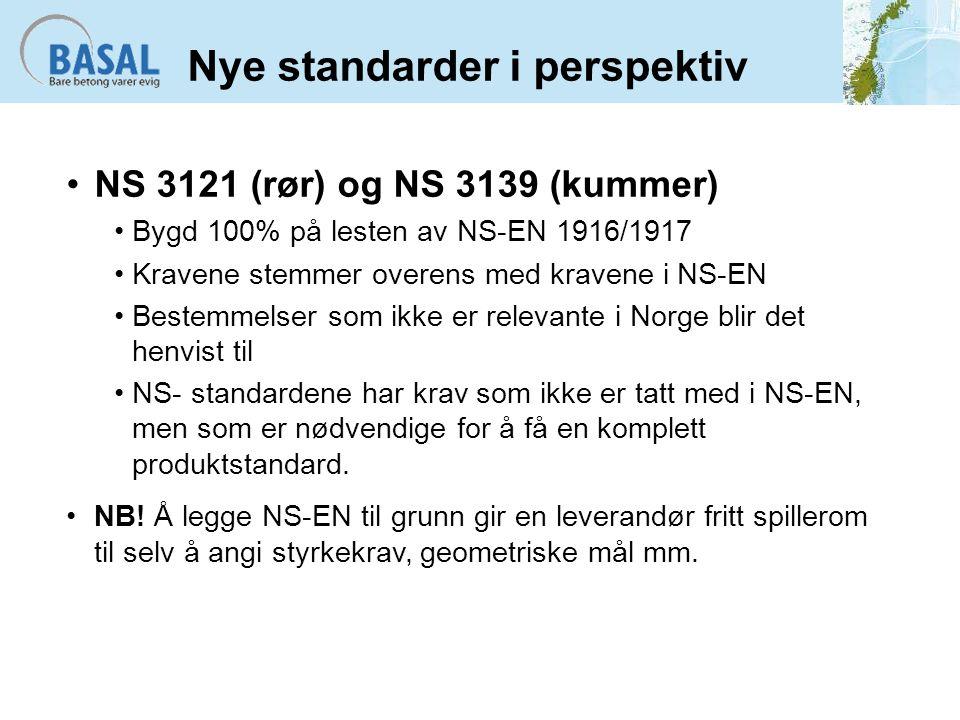 Nye standarder i perspektiv NS 3121 (rør) og NS 3139 (kummer) Bygd 100% på lesten av NS-EN 1916/1917 Kravene stemmer overens med kravene i NS-EN Beste
