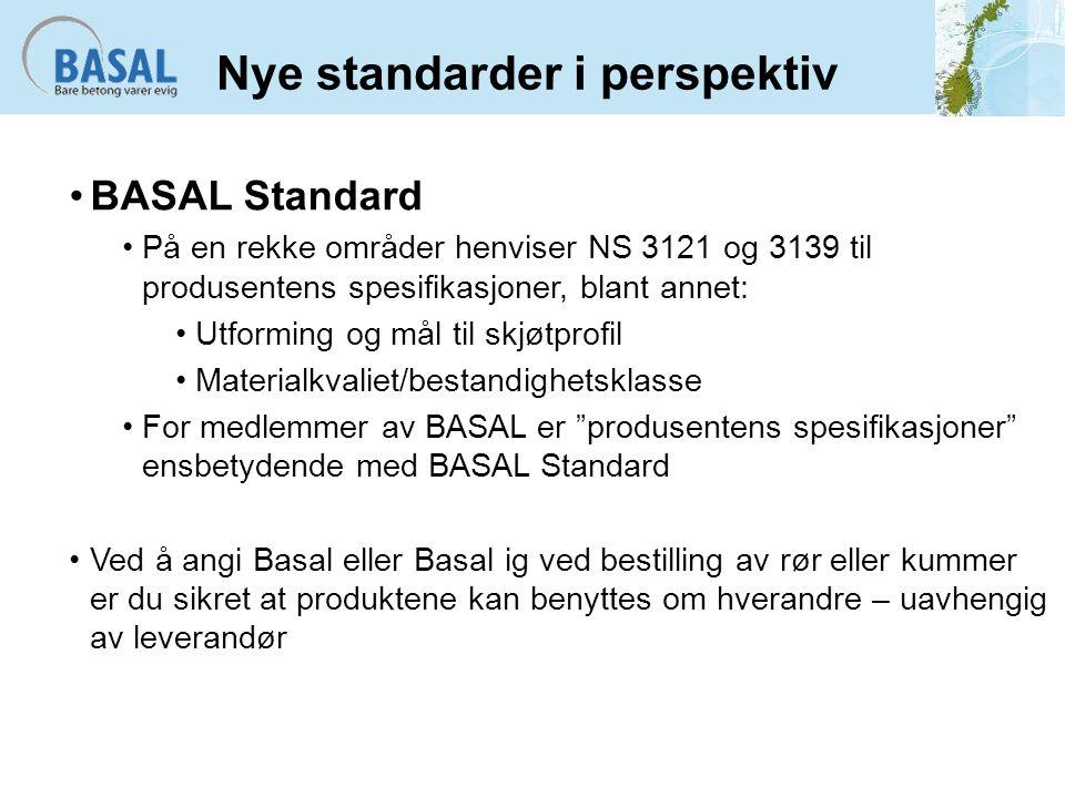Nye standarder i perspektiv BASAL Standard På en rekke områder henviser NS 3121 og 3139 til produsentens spesifikasjoner, blant annet: Utforming og må
