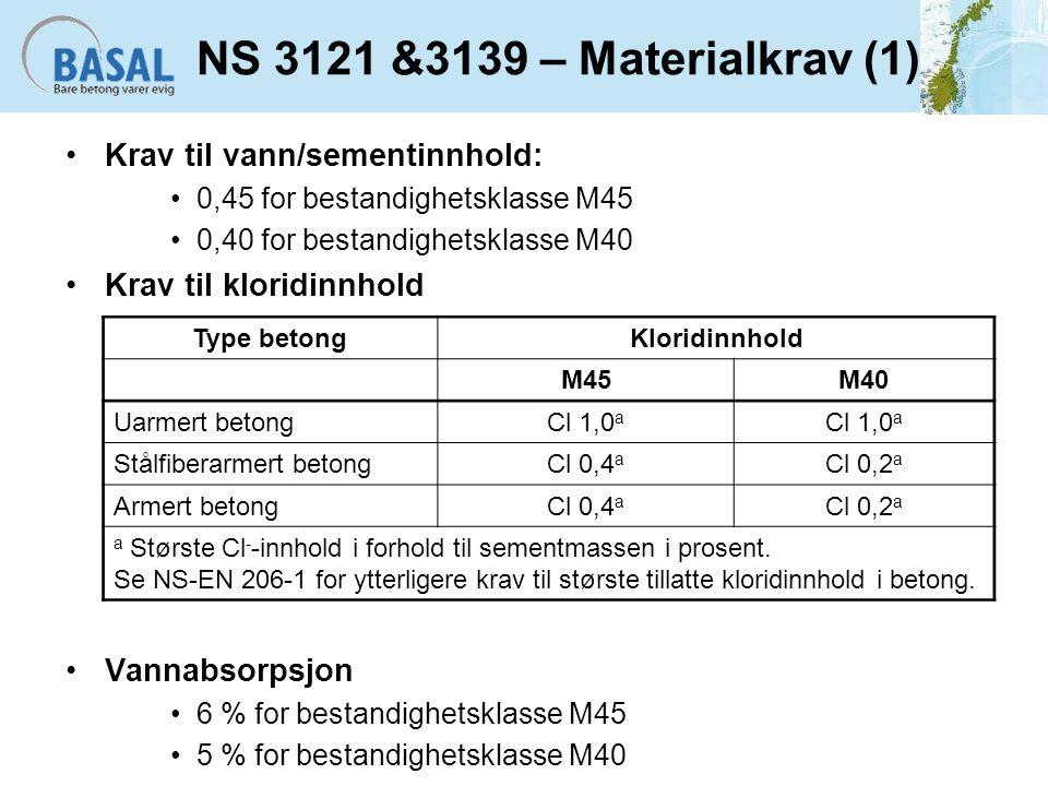 NS 3121 &3139 – Materialkrav (1) Krav til vann/sementinnhold: 0,45 for bestandighetsklasse M45 0,40 for bestandighetsklasse M40 Krav til kloridinnhold