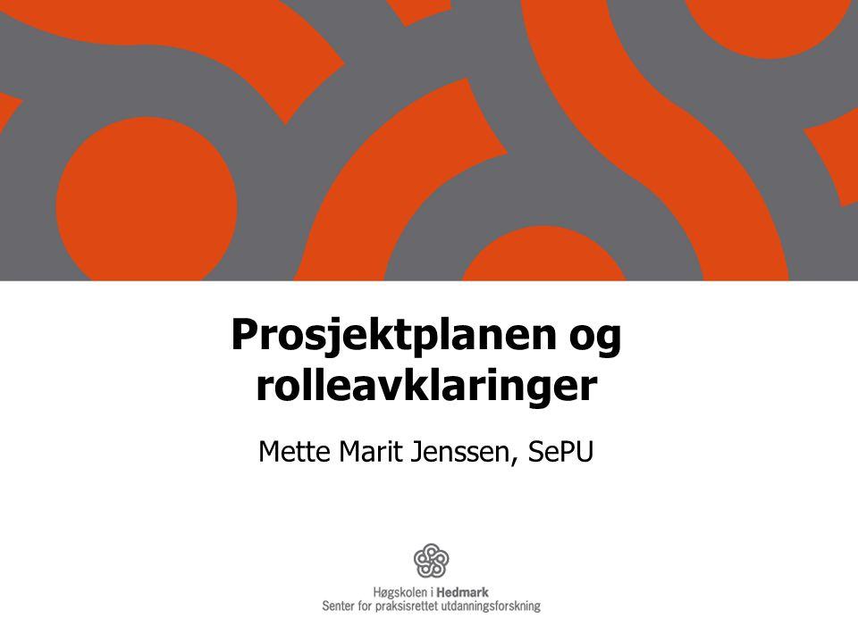 Prosjektplanen og rolleavklaringer Mette Marit Jenssen, SePU