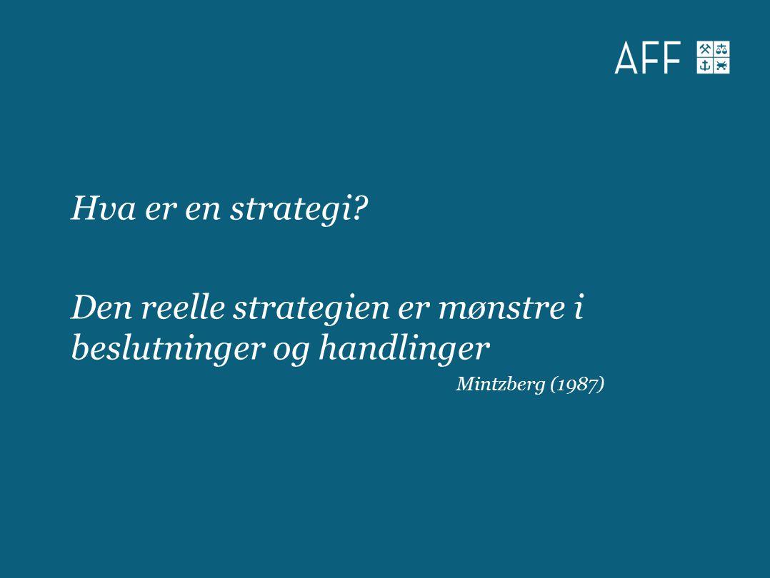 Hva er en strategi? Den reelle strategien er mønstre i beslutninger og handlinger Mintzberg (1987)