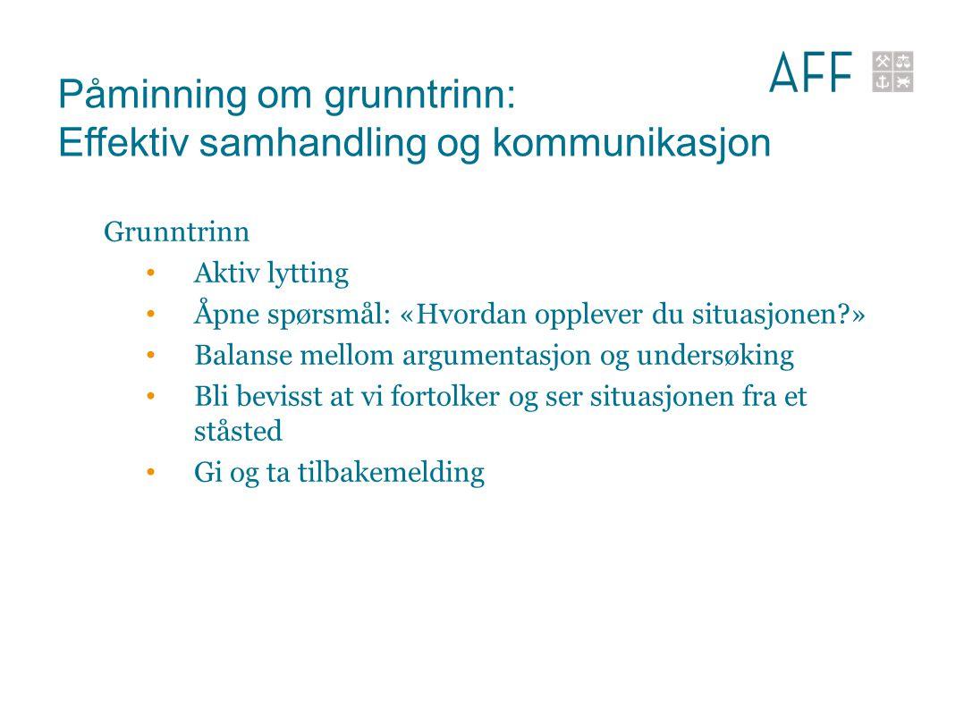 Påminning om grunntrinn: Effektiv samhandling og kommunikasjon Grunntrinn Aktiv lytting Åpne spørsmål: «Hvordan opplever du situasjonen?» Balanse mell