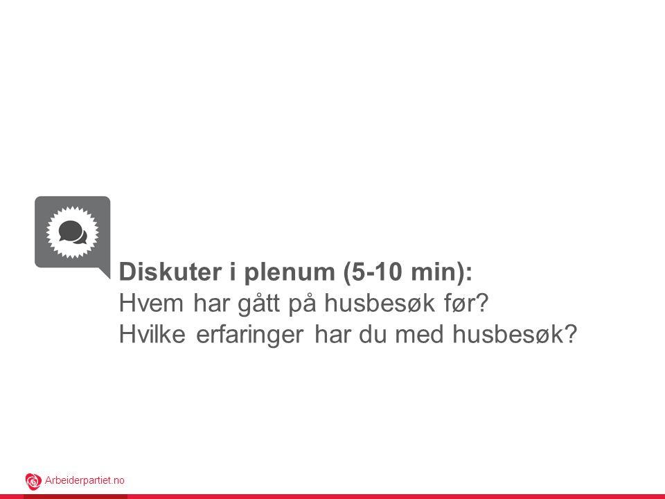 Arbeiderpartiet.no Diskuter i plenum (5-10 min): Hvem har gått på husbesøk før.