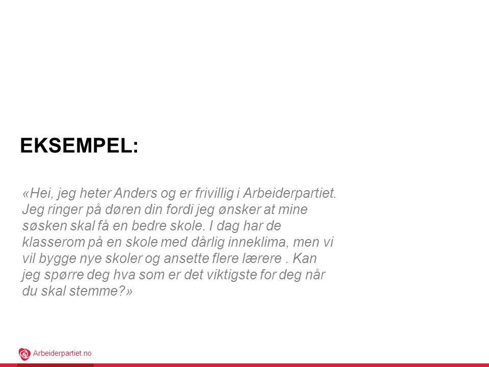Arbeiderpartiet.no «Hei, jeg heter Anders og er frivillig i Arbeiderpartiet.