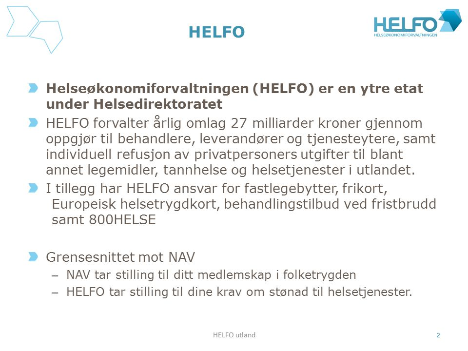 HELFO Helseøkonomiforvaltningen (HELFO) er en ytre etat under Helsedirektoratet HELFO forvalter årlig omlag 27 milliarder kroner gjennom oppgjør til b