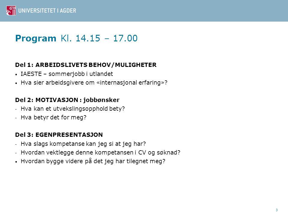 3 Program Kl. 14.15 – 17.00 Del 1: ARBEIDSLIVETS BEHOV/MULIGHETER IAESTE – sommerjobb i utlandet Hva sier arbeidsgivere om «internasjonal erfaring»? D