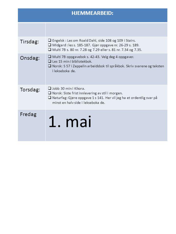 HJEMMEARBEID: Tirsdag:  Engelsk : Les om Roald Dahl, side 108 og 109 i Stairs.  Midgard : les s. 185-187. Gjør oppgave nr. 26-29 s. 189.  Multi 7B