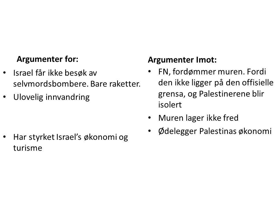 Argumenter for: Israel får ikke besøk av selvmordsbombere.