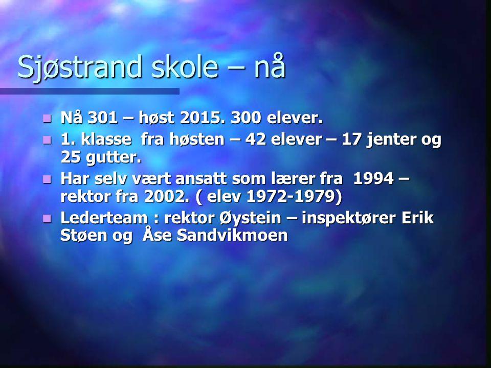 Sjøstrand skole – nå Nå 301 – høst 2015. 300 elever.