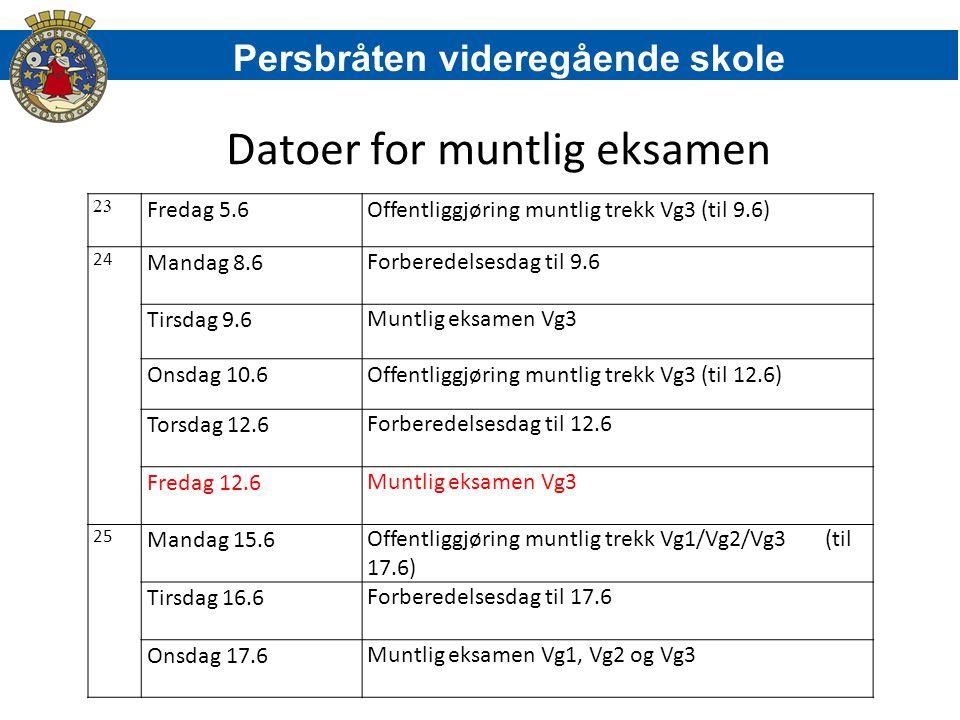 Datoer for muntlig eksamen 23 Fredag 5.6Offentliggjøring muntlig trekk Vg3 (til 9.6) 24 Mandag 8.6Forberedelsesdag til 9.6 Tirsdag 9.6Muntlig eksamen Vg3 Onsdag 10.6Offentliggjøring muntlig trekk Vg3 (til 12.6) Torsdag 12.6Forberedelsesdag til 12.6 Fredag 12.6Muntlig eksamen Vg3 25 Mandag 15.6Offentliggjøring muntlig trekk Vg1/Vg2/Vg3 (til 17.6) Tirsdag 16.6Forberedelsesdag til 17.6 Onsdag 17.6Muntlig eksamen Vg1, Vg2 og Vg3 Persbråten videregående skole