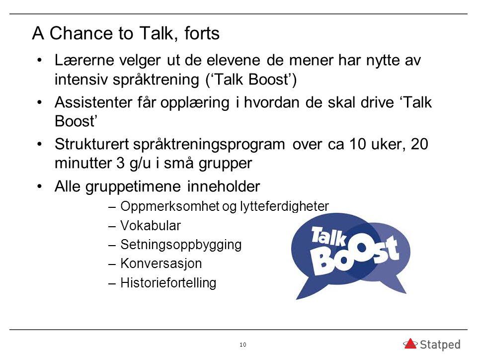 A Chance to Talk, forts Lærerne velger ut de elevene de mener har nytte av intensiv språktrening ('Talk Boost') Assistenter får opplæring i hvordan de