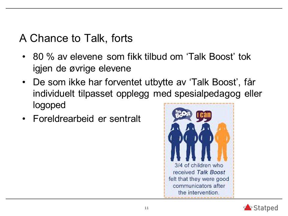 A Chance to Talk, forts 80 % av elevene som fikk tilbud om 'Talk Boost' tok igjen de øvrige elevene De som ikke har forventet utbytte av 'Talk Boost',