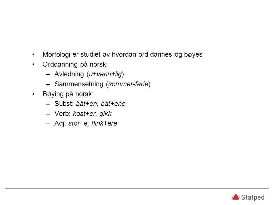 Morfologi er studiet av hvordan ord dannes og bøyes Orddanning på norsk: –Avledning (u+venn+lig) –Sammensetning (sommer-ferie) Bøying på norsk: –Subst