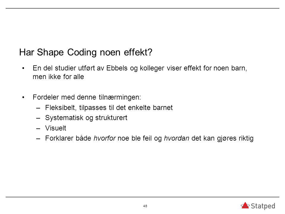 Har Shape Coding noen effekt? En del studier utført av Ebbels og kolleger viser effekt for noen barn, men ikke for alle Fordeler med denne tilnærminge