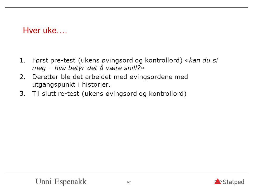 Hver uke…. 1.Først pre-test (ukens øvingsord og kontrollord) «kan du si meg – hva betyr det å være snill?» 2.Deretter ble det arbeidet med øvingsorden