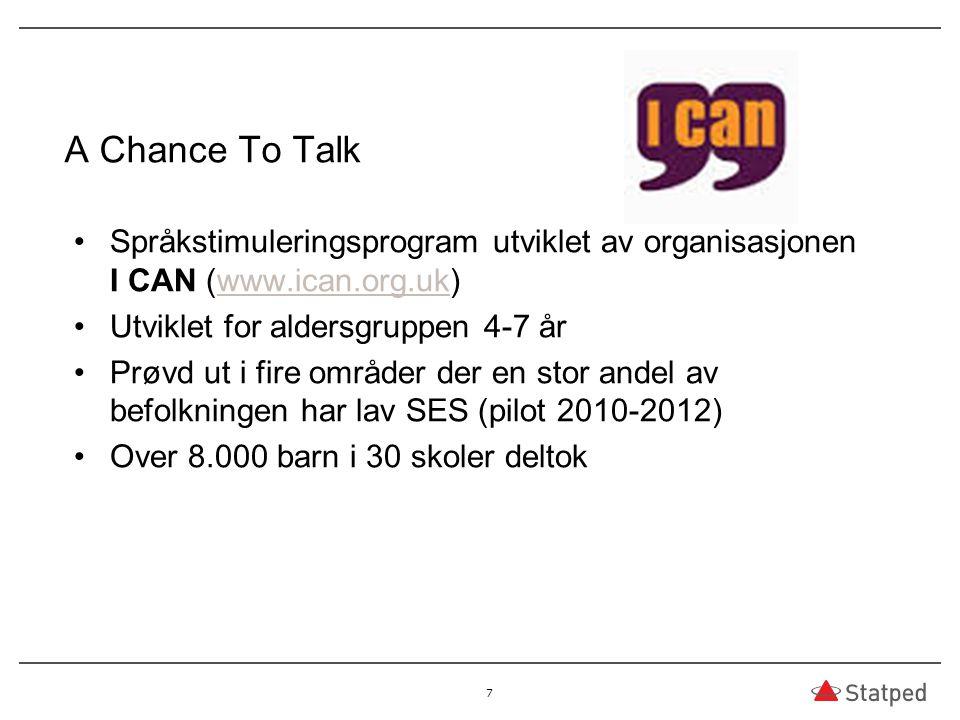 A Chance To Talk Språkstimuleringsprogram utviklet av organisasjonen I CAN (www.ican.org.uk)www.ican.org.uk Utviklet for aldersgruppen 4-7 år Prøvd ut