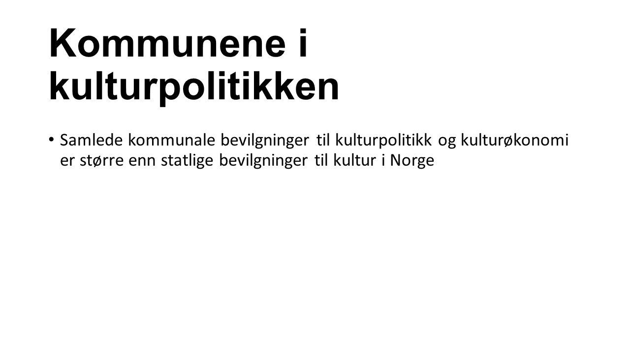 Kommunene i kulturpolitikken Samlede kommunale bevilgninger til kulturpolitikk og kulturøkonomi er større enn statlige bevilgninger til kultur i Norge