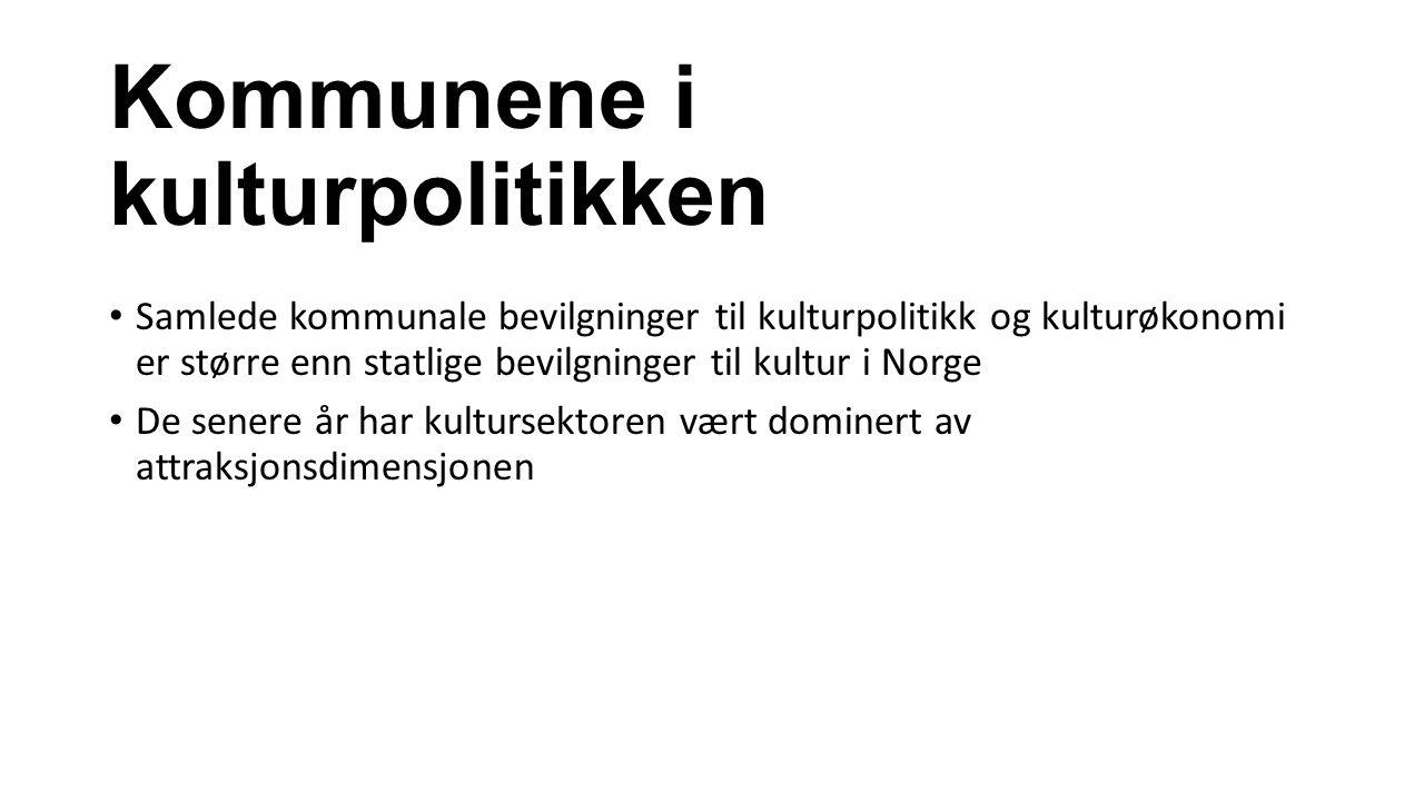 Kommunene i kulturpolitikken Samlede kommunale bevilgninger til kulturpolitikk og kulturøkonomi er større enn statlige bevilgninger til kultur i Norge De senere år har kultursektoren vært dominert av attraksjonsdimensjonen