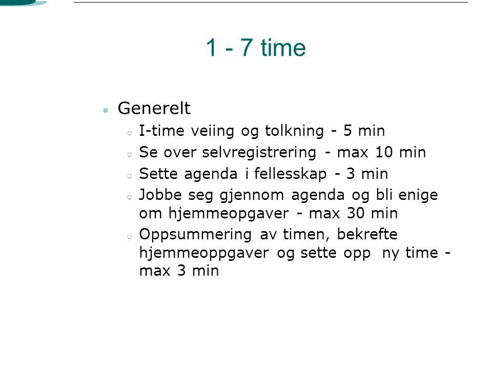 1 - 7 time ● Generelt ○ I-time veiing og tolkning - 5 min ○ Se over selvregistrering - max 10 min ○ Sette agenda i fellesskap - 3 min ○ Jobbe seg gjen