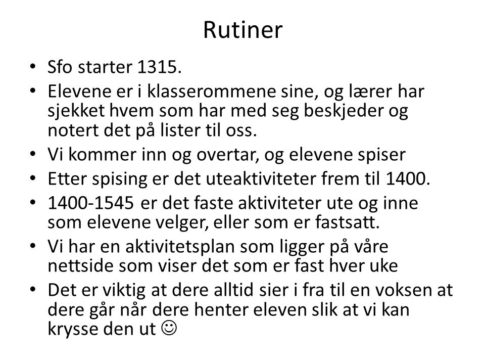 Rutiner Sfo starter 1315.
