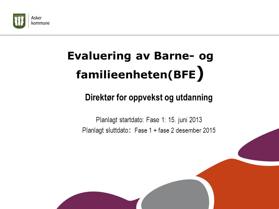 Evaluering av Barne- og familieenheten(BFE ) Direktør for oppvekst og utdanning Planlagt startdato: Fase 1: 15.