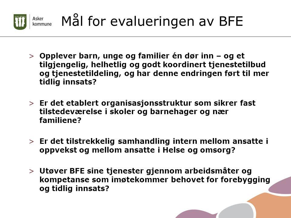 Mål for evalueringen av BFE >Opplever barn, unge og familier én dør inn – og et tilgjengelig, helhetlig og godt koordinert tjenestetilbud og tjenestetildeling, og har denne endringen ført til mer tidlig innsats.