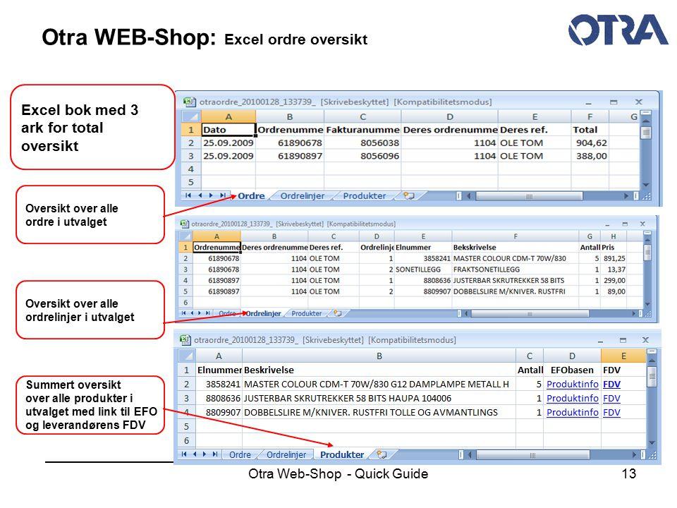 Otra Web-Shop - Quick Guide13 Otra WEB-Shop: Excel ordre oversikt Excel bok med 3 ark for total oversikt Summert oversikt over alle produkter i utvalg
