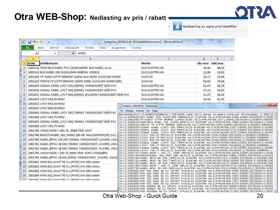 Otra Web-Shop - Quick Guide20 Otra WEB-Shop: Nedlasting av pris / rabatt