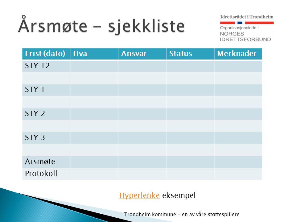 Trondheim kommune - en av våre støttespillere Frist (dato)HvaAnsvarStatusMerknader STY 12 STY 1 STY 2 STY 3 Årsmøte Protokoll Hyperlenke eksempel