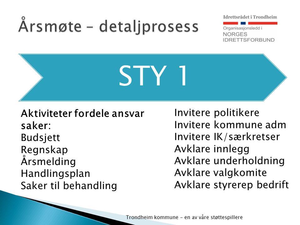 STY 1 Trondheim kommune - en av våre støttespillere Aktiviteter fordele ansvar saker: Budsjett Regnskap Årsmelding Handlingsplan Saker til behandling