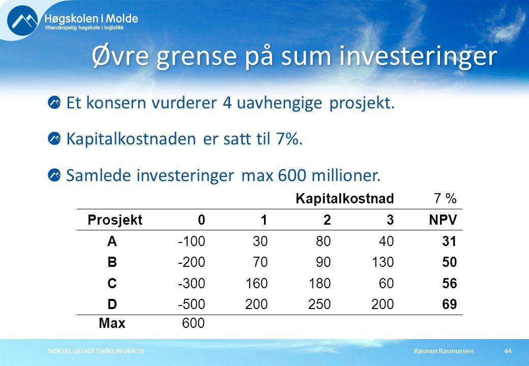 Rasmus RasmussenBØK311 BEDRIFTSØKONOMI 2b44 Et konsern vurderer 4 uavhengige prosjekt.