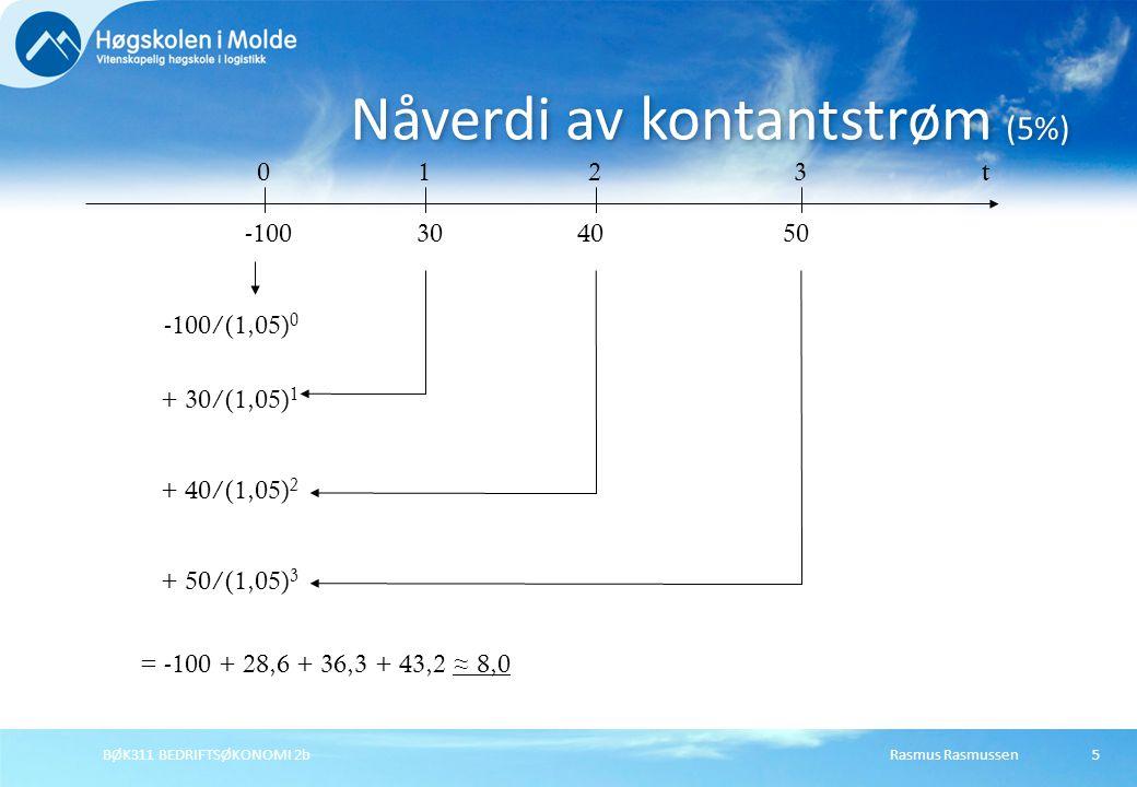 Rasmus RasmussenBØK311 BEDRIFTSØKONOMI 2b5 Nåverdi av kontantstrøm (5%) t0 -100 123 503040 -100/(1,05) 0 + 30/(1,05) 1 + 40/(1,05) 2 + 50/(1,05) 3 = -100 + 28,6 + 36,3 + 43,2 ≈ 8,0