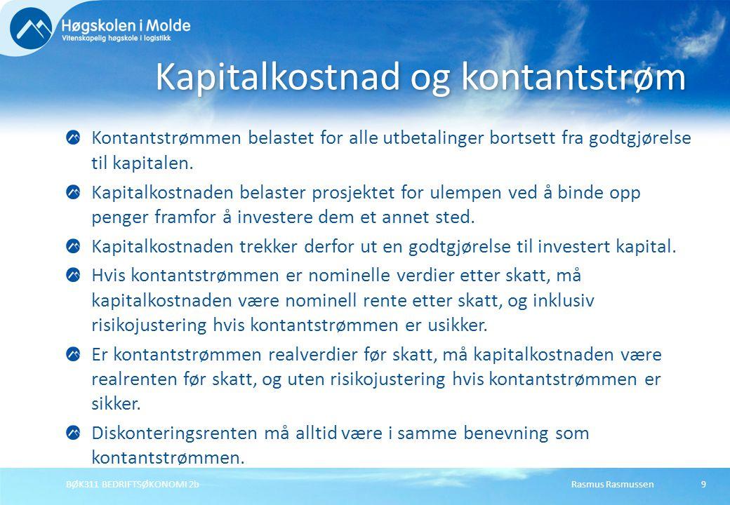 Rasmus RasmussenBØK311 BEDRIFTSØKONOMI 2b20 Internrenten til en kontantstrøm er definert som den diskonteringsrenten som gjør kontantstrømmens nåverdi lik 0: Internrenten finnes på nåverdiprofilen i det punkt på horisontal akse der nåverdien skifter fortegn.