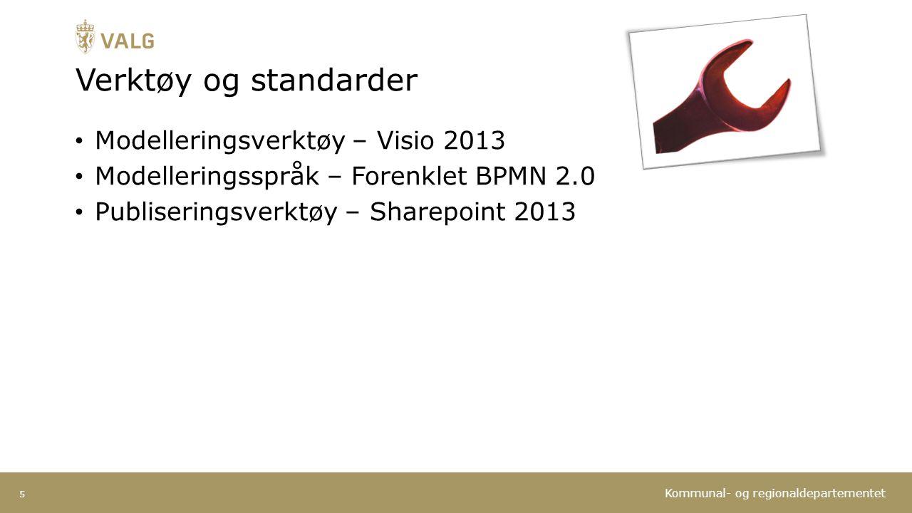 Kommunal- og regionaldepartementet Verktøy og standarder Modelleringsverktøy – Visio 2013 Modelleringsspråk – Forenklet BPMN 2.0 Publiseringsverktøy – Sharepoint 2013 5